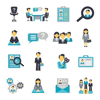 Iconos de recursos humanos plana