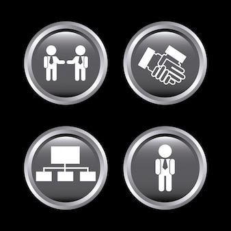 Iconos de recursos humanos sobre negro