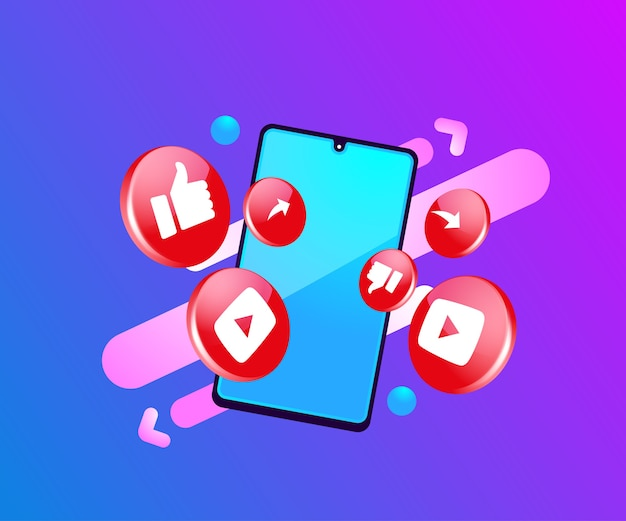 Iconos de redes sociales 3d de youtube con símbolo de teléfono inteligente