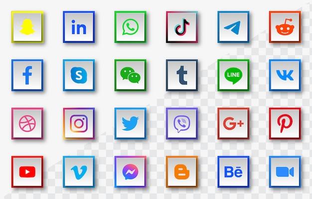 Iconos de redes sociales en botones cuadrados modernos con sombra