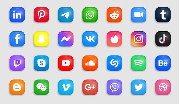 Iconos de redes sociales en botones modernos y cuadrados con logotipos de esquinas redondas