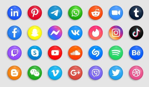 Iconos de redes sociales en botones modernos o logotipos redondos