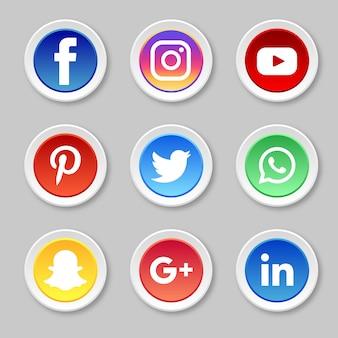 Iconos de redes sociales de círculo
