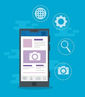 Iconos de redes sociales con diseño de ilustración de dispositivo de teléfono inteligente