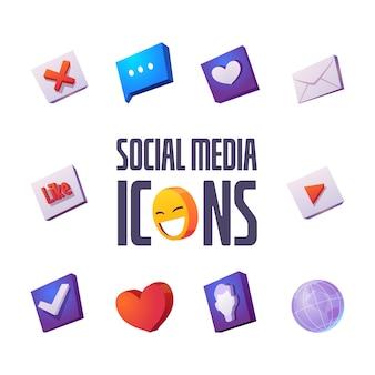 Los iconos de redes sociales establecen dibujos animados bocadillo, sonrisa y sobres con corazón, como y cruz, marca de verificación, globo terráqueo y perfil de usuario para internet, interfaz de aplicación o sitio web, signos vectoriales aislados