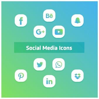 Iconos de redes sociales estilo de ios 10