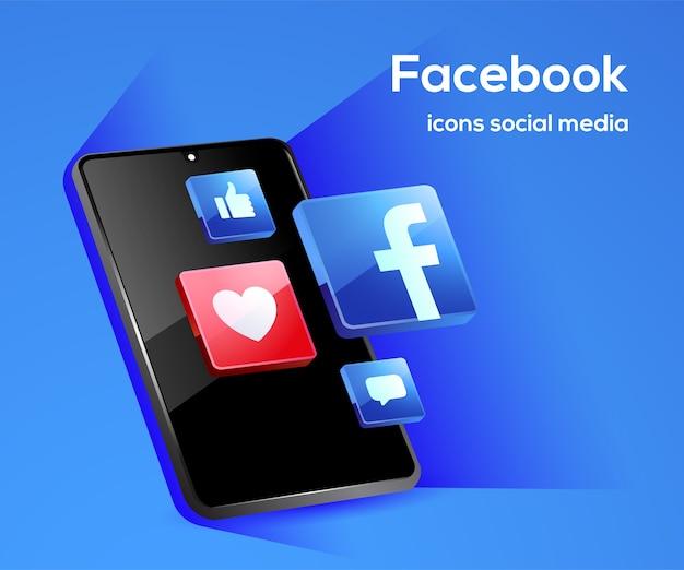 Iconos de redes sociales de facebook con símbolo de teléfono inteligente
