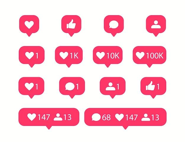 Iconos de redes sociales. icono de me gusta y comentario.