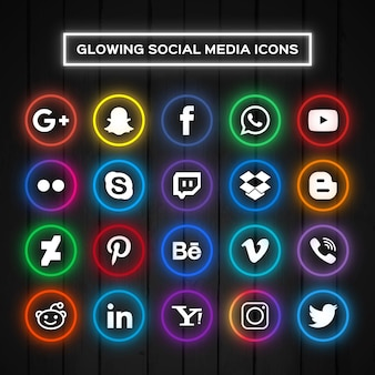 Iconos para redes sociales con luces de neón
