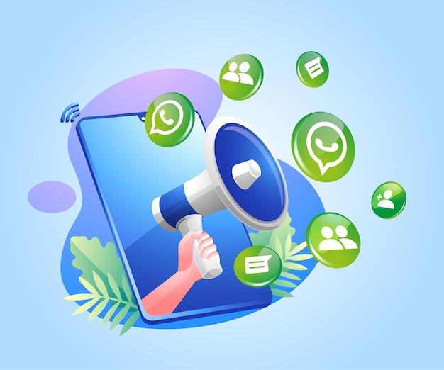 Iconos de redes sociales de megáfono y whatsapp