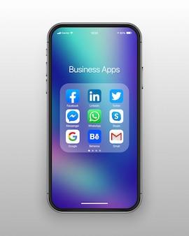 Iconos de redes sociales de negocios de carpeta de teléfono inteligente