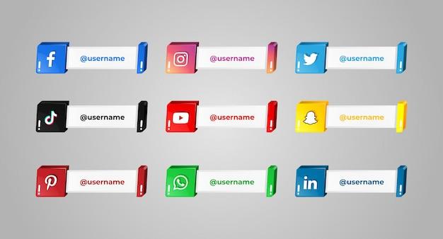 Iconos de redes sociales con nombre de usuario