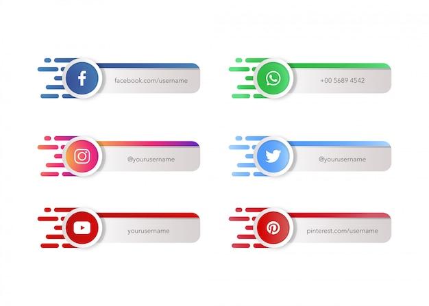 Iconos de redes sociales o logotipos con plantilla de banner