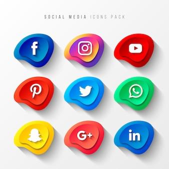 Iconos de redes sociales pack 3d efecto de botón