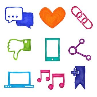 Iconos de redes sociales pintados.
