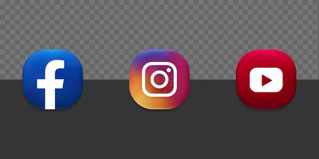 Los iconos de las redes sociales populares establecen el fondo transparente 3d del botón de youtube facebook instagram