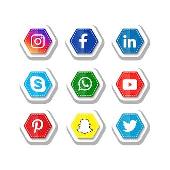 Iconos de redes sociales populares