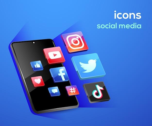 Iconos de redes sociales con símbolo de teléfono inteligente