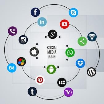 Iconos para redes sociales sobre una composición circular