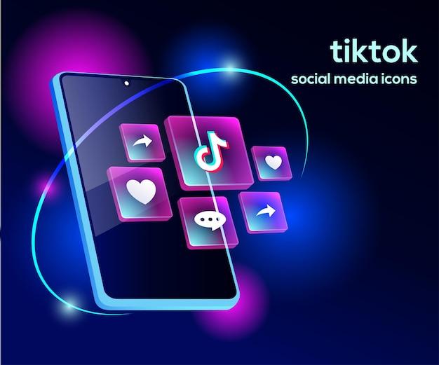 Iconos de redes sociales de tiktiok con símbolo de teléfono inteligente