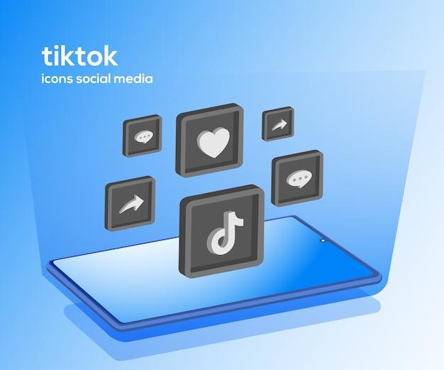 Iconos de redes sociales de tiktok con símbolo de teléfono inteligente