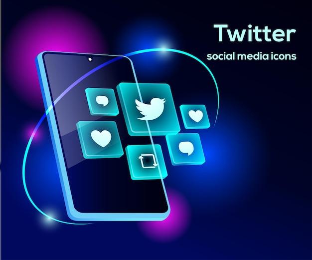 Iconos de redes sociales de twitter con símbolo de teléfono inteligente