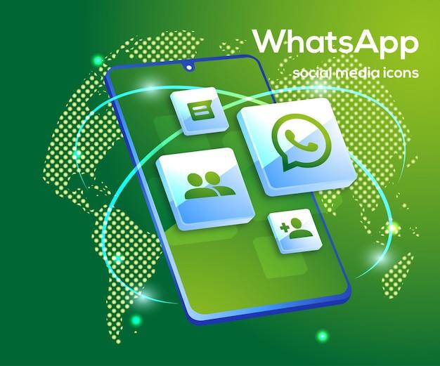 Iconos de redes sociales de whatsapp con símbolo de teléfono inteligente