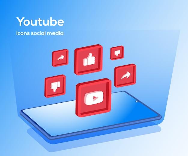 Iconos de redes sociales de youtube con símbolo de teléfono inteligente