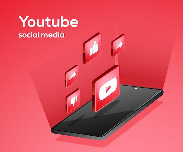 Iconos de redes sociales de youtube con smartphone