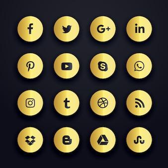 Iconos redondos dorados de redes sociales