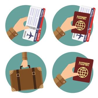 Iconos redondos con elementos de mano para viajar