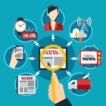 Iconos redondos de medios en tema de noticias frescas en papel y formularios electrónicos planos
