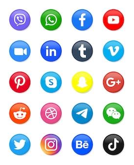 Iconos redondos de redes sociales o logotipos de plataformas de red en diferentes botones