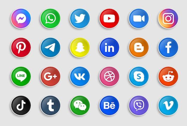 Iconos redondos de redes sociales en pegatinas modernas o botones de logotipos de plataformas de red