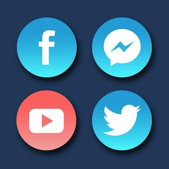 Iconos redondos para redes sociales