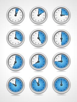 Los iconos redondos del reloj del vector fijaron aislado en el fondo blanco