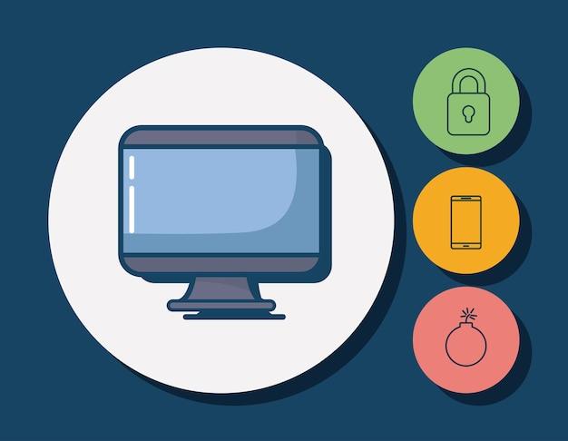 Iconos relacionados con la informática y la seguridad cibernética alrededor de círculos y fondo azul