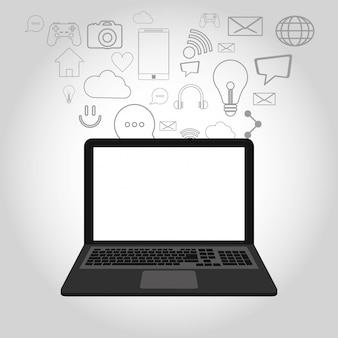 Iconos relacionados laptop y telecomunicación