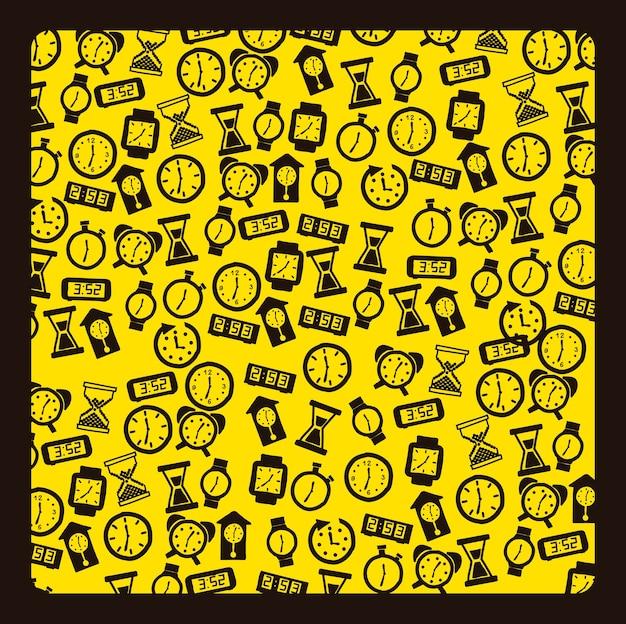 Iconos de reloj sobre fondo amarillo ilustración vectorial