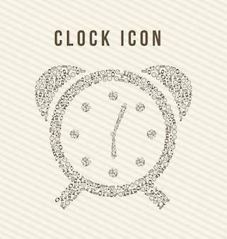 Iconos de reloj sobre fondo beige ilustración vectorial