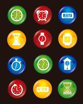 Iconos de reloj sobre fondo negro ilustración vectorial