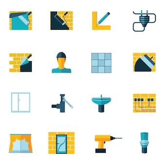 Iconos de reparación de casa plana