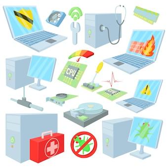 Iconos de reparación de computadoras en estilo de dibujos animados