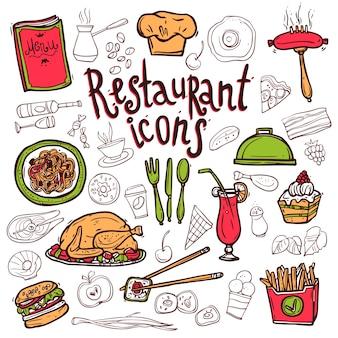Iconos de restaurante doodle bosquejo de símbolos