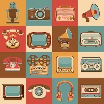 Los iconos retros de los artilugios de los medios del vintage fijados de la cámara del micrófono de la radio aislaron el ejemplo del vector