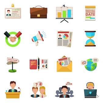 Iconos de reuniones planas