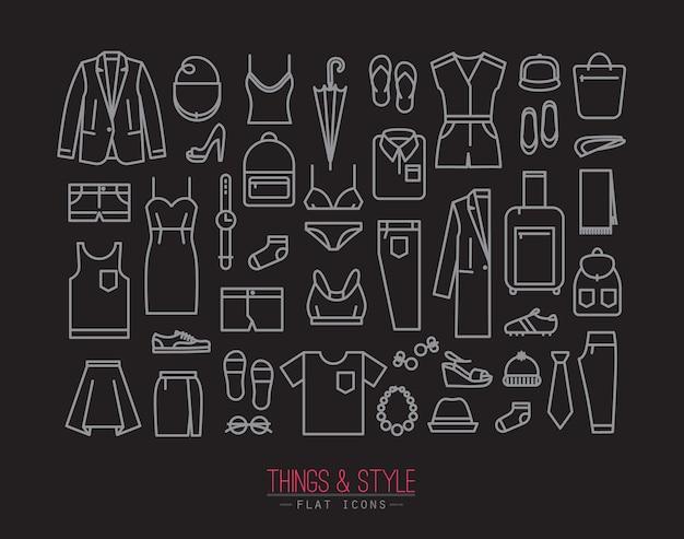 Iconos de ropa plana negro
