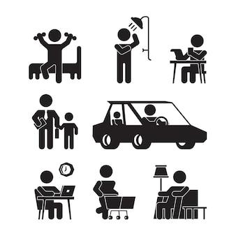 Iconos de rutina diaria. siluetas de estilo de vida de persona activa se despiertan comiendo bañándose trabajando durmiendo pictogramas vectoriales. ilustración de la vida cotidiana, la vigilia y el sueño.