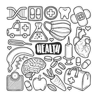 Iconos de salud doodle dibujado a mano para colorear