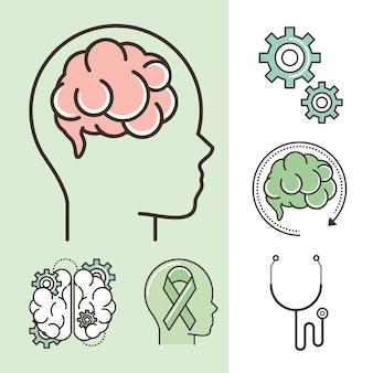 Iconos de salud mental mundial